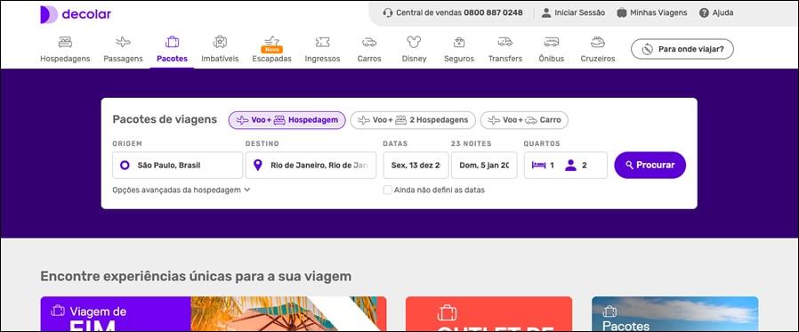 página inicial decolar.com