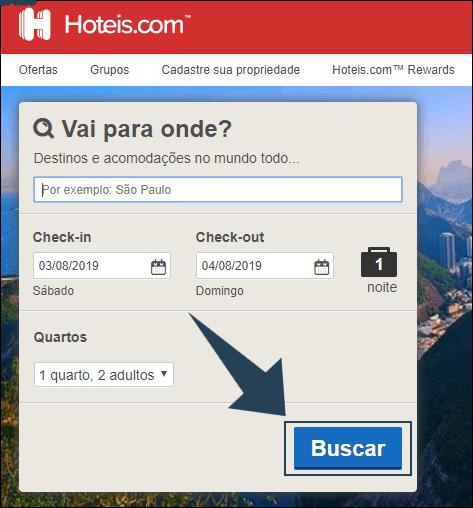 tela inicial do site do hoteis.com